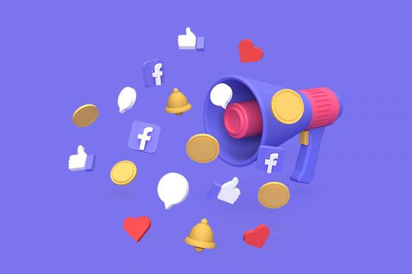Γραφικό με τηλεβόα και εικονίδια των μέσων κοινωνικής δικτύωσης. Συμβολισμός για διαφήμιση μέσω social media