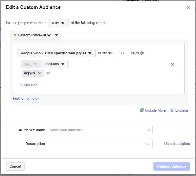 Facebook Retargeting Custom Audience - People Not Signup Παράδειγμα