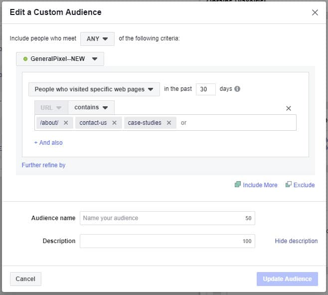 Facebook Retargeting αλλαγή σε Custom Audience