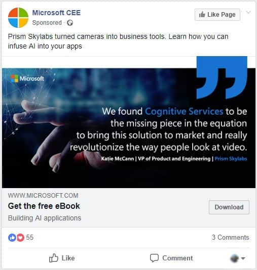 Facebook Retargeting Example - Microsoft