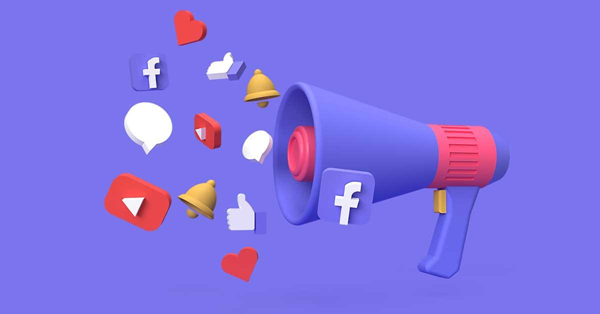 Τηλεβόας και εικονίδια social media. Συμβολισμός για τον σκοπό του social media marketing